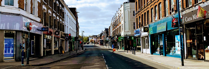 Empty high street during lockdown