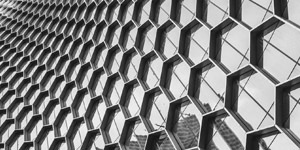 Hexagonal windows in office building