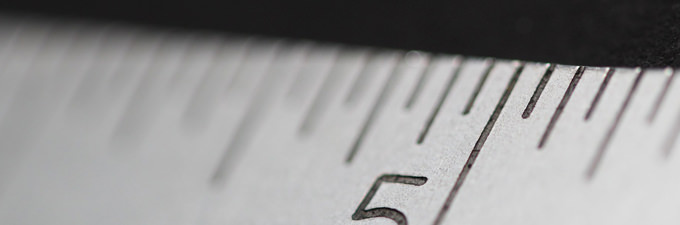 Close up of metal ruler